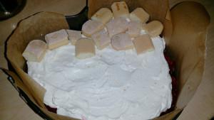 Tort cu mascarpone, piscoturi si zmeura